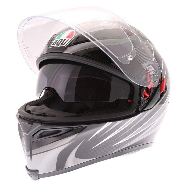 AGV K5-S Hurricane 2 Black Silver Full Face Motorcycle Helmet Open With Sun Visor