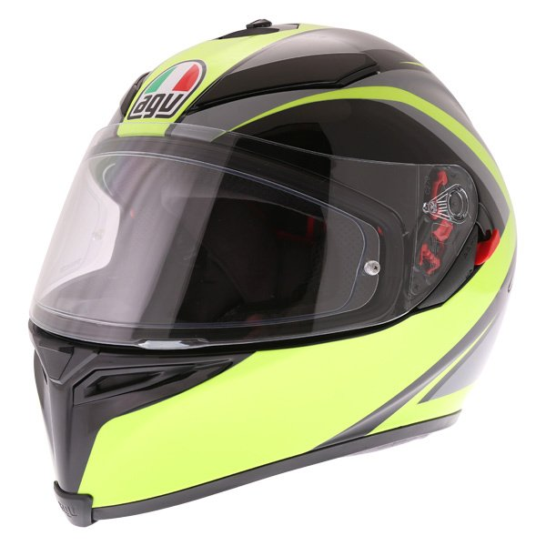 AGV K5-S Typhoon Black Grey Flo Yellow Full Face Motorcycle Helmet Front Left