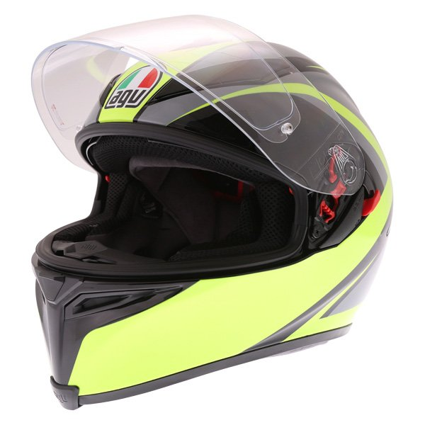 AGV K5-S Typhoon Black Grey Flo Yellow Full Face Motorcycle Helmet Open