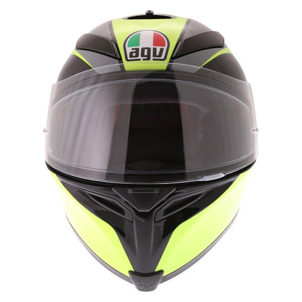 AGV K5-S Typhoon Black Grey Flo Yellow Full Face Motorcycle Helmet Front