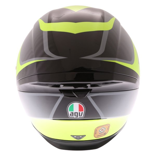 AGV K5-S Typhoon Black Grey Flo Yellow Full Face Motorcycle Helmet Back