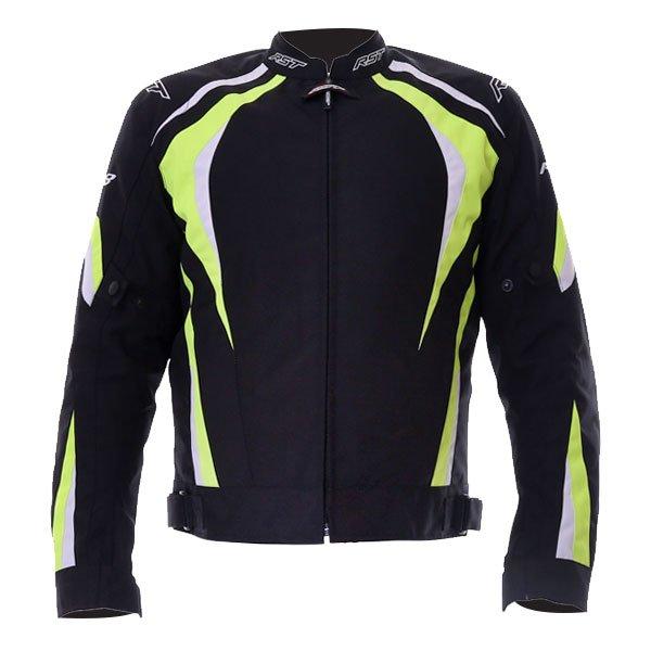 R-18 CE Mens Textile Jacket Black Flo Yellow RST Clothing
