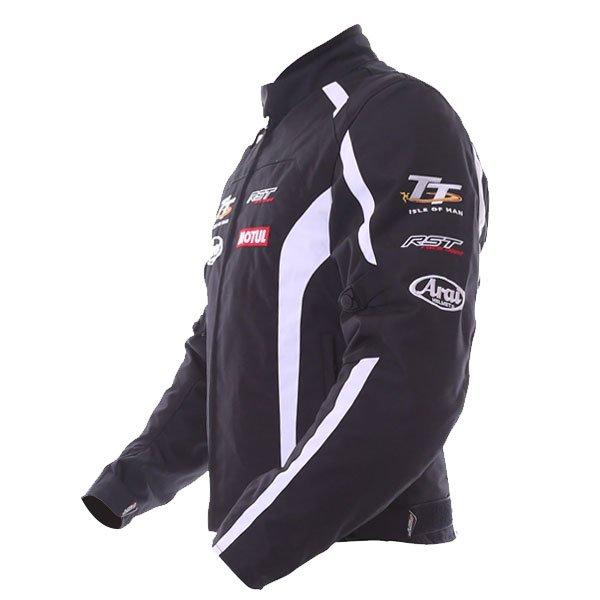 RST IOM TT Team CE Black White Textile Motorcycle Jacket Side