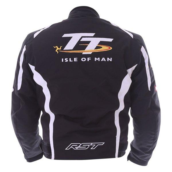 RST IOM TT Team CE Black White Textile Motorcycle Jacket Back