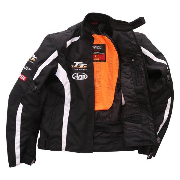 RST IOM TT Team CE Black White Textile Motorcycle Jacket Inside