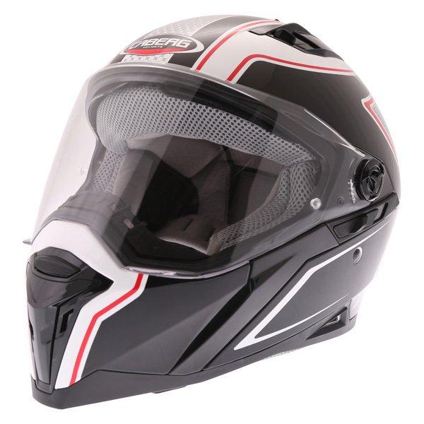 Caberg Stunt Blade White Black Red Full Face Motorcycle Helmet Front Left