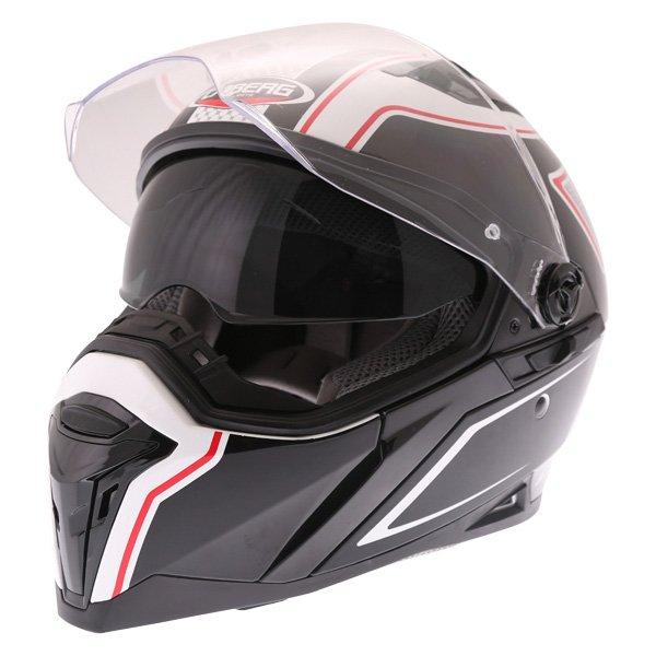 Caberg Stunt Blade White Black Red Full Face Motorcycle Helmet Open With Sun Visor