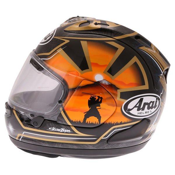 Arai RX-7V Pedrosa Spirit Gold Full Face Motorcycle Helmet Left Side
