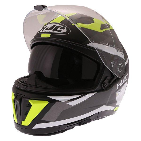 HJC I70 Elim Black Grey Fluo Full Face Motorcycle Helmet Open With Sun Visor