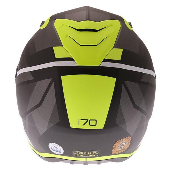 HJC I70 Elim Black Grey Fluo Full Face Motorcycle Helmet Back
