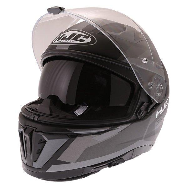 HJC I70 Elim Black Grey Full Face Motorcycle Helmet Open With Sun Visor