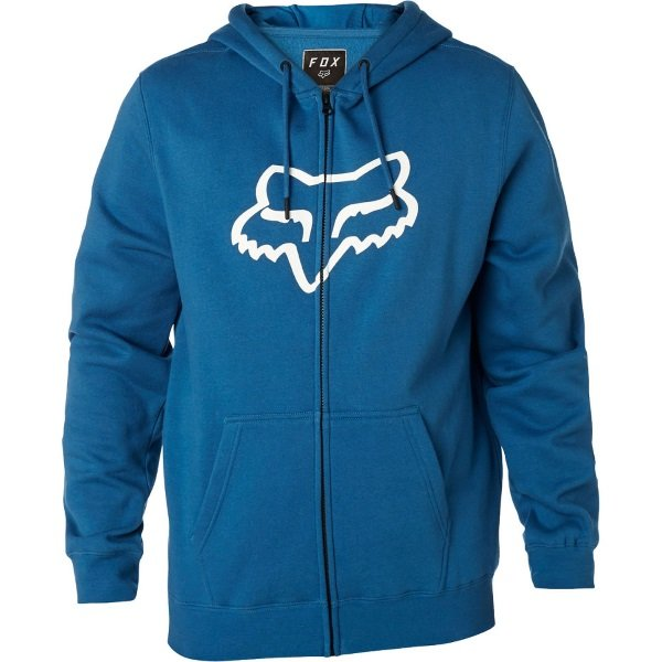 Fox Legacy Distressed Blue Foxhead Zip Fleece Front