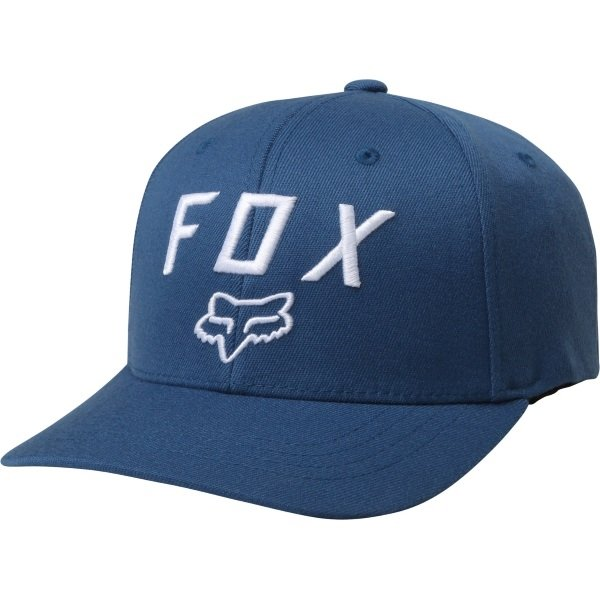 Fox Legacy Moth 110 Distressed Blue Snapback Hat Front