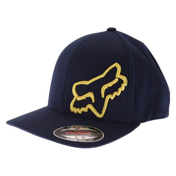 Fox Flex 45 Flexfit Navy Yellow Baseball Cap Front Left