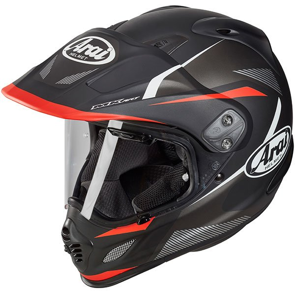 Arai Tour-X 4 Break Black Red Adventure Motorcycle Helmet Front Left