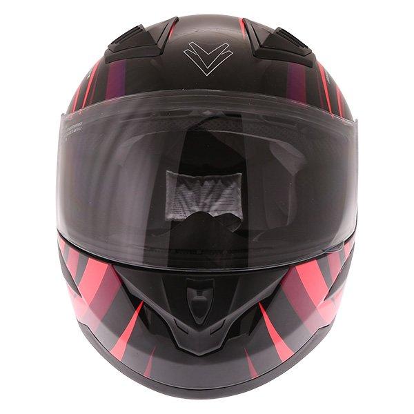 Frank Thomas FT36 Vortex Ladies Black Pink Full Face Motorcycle Helmet Front