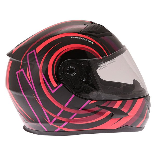 Frank Thomas FT36 Vortex Ladies Black Pink Full Face Motorcycle Helmet Right Side