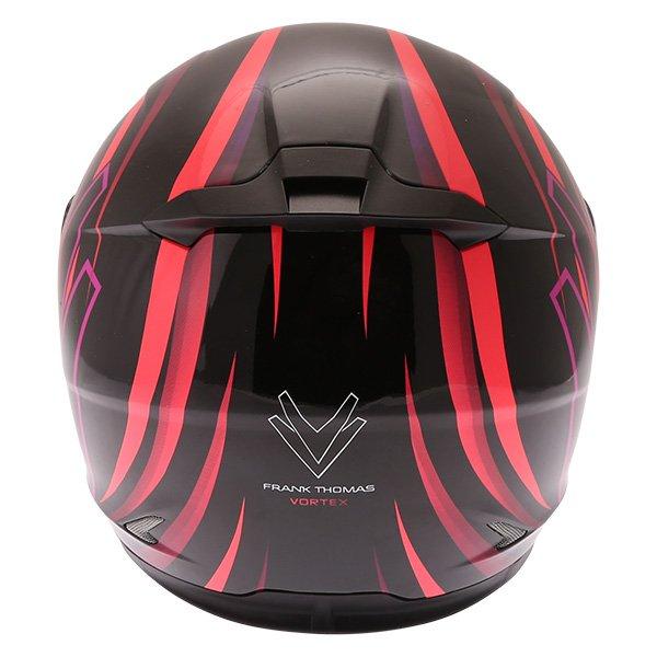 Frank Thomas FT36 Vortex Ladies Black Pink Full Face Motorcycle Helmet Back