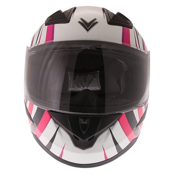 Frank Thomas FT36 Vortex Ladies White Pink Full Face Motorcycle Helmet Front