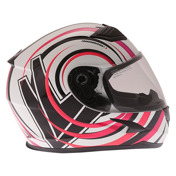 Frank Thomas FT36 Vortex Ladies White Pink Full Face Motorcycle Helmet Right Side