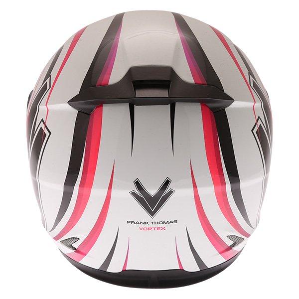 Frank Thomas FT36 Vortex Ladies White Pink Full Face Motorcycle Helmet Back
