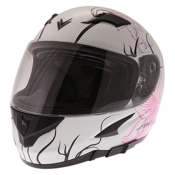 FT36SV Bloom Ladies Helmet White Pink Ladies Helmets