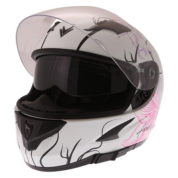 Frank Thomas FT36SV Bloom Ladies White Pink Full Face Motorcycle Helmet Open With Sun Visor