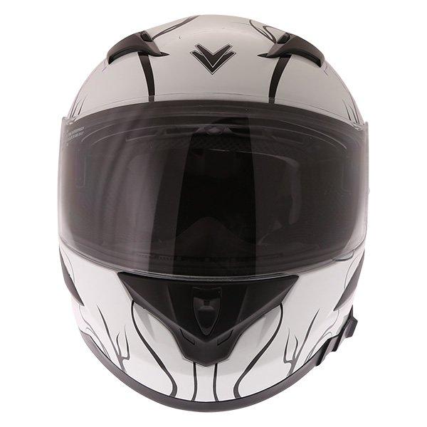 Frank Thomas FT36SV Bloom Ladies White Pink Full Face Motorcycle Helmet Front