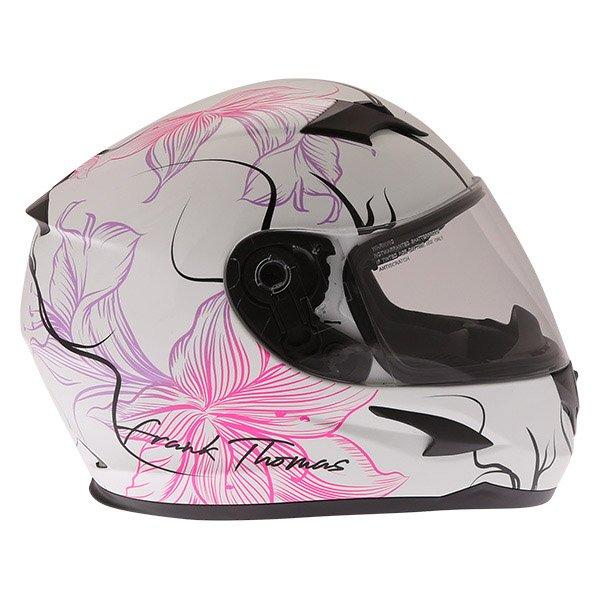 Frank Thomas FT36SV Bloom Ladies White Pink Full Face Motorcycle Helmet Right Side