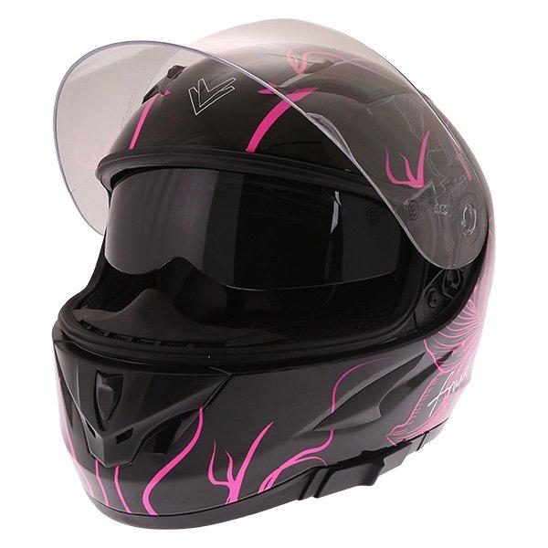 Frank Thomas FT36SV Bloom Ladies Black Pink Full Face Motorcycle Helmet Open With Sun Visor