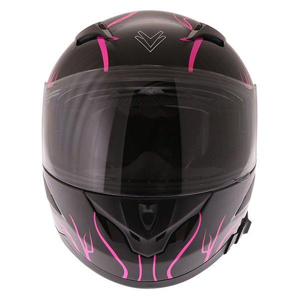 Frank Thomas FT36SV Bloom Ladies Black Pink Full Face Motorcycle Helmet Front