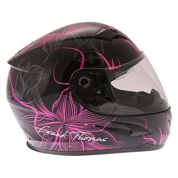 Frank Thomas FT36SV Bloom Ladies Black Pink Full Face Motorcycle Helmet Right Side