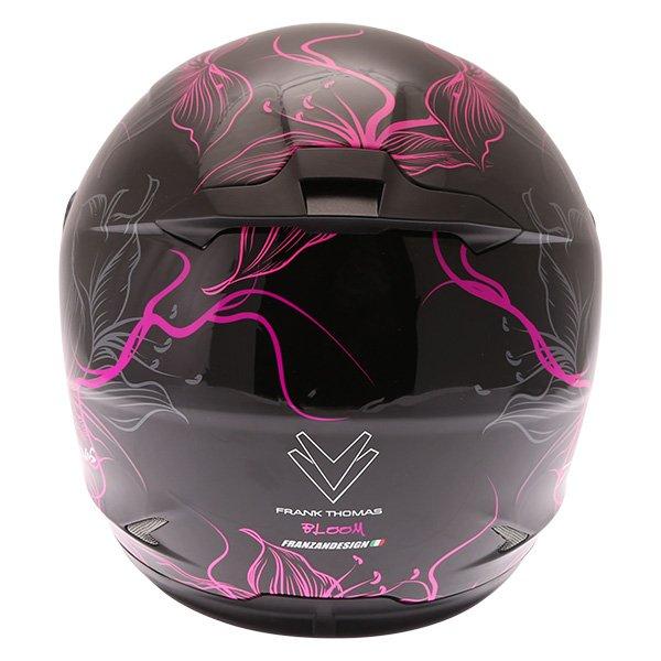 Frank Thomas FT36SV Bloom Ladies Black Pink Full Face Motorcycle Helmet Back
