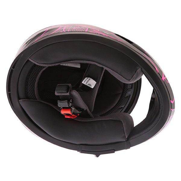 Frank Thomas FT36SV Bloom Ladies Black Pink Full Face Motorcycle Helmet Inside