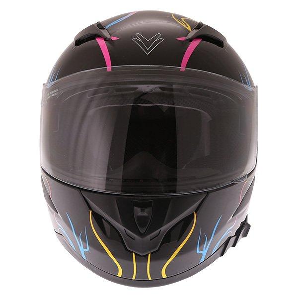 Frank Thomas FT36SV Bloom Ladies Black Multi Full Face Motorcycle Helmet Front
