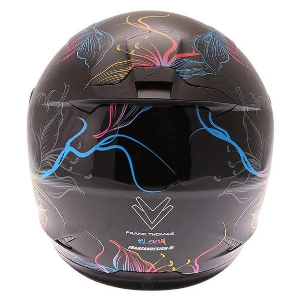 Frank Thomas FT36SV Bloom Ladies Black Multi Full Face Motorcycle Helmet Back
