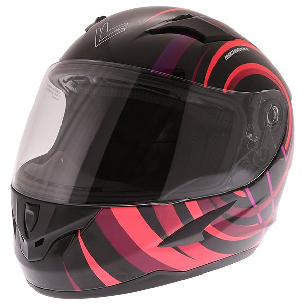 Frank Thomas FT36Y Comix Vortex Ladies Black Pink Full Face Motorcycle Helmet Front Left
