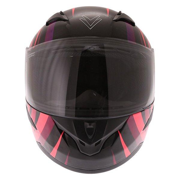 Frank Thomas FT36Y Comix Vortex Ladies Black Pink Full Face Motorcycle Helmet Front