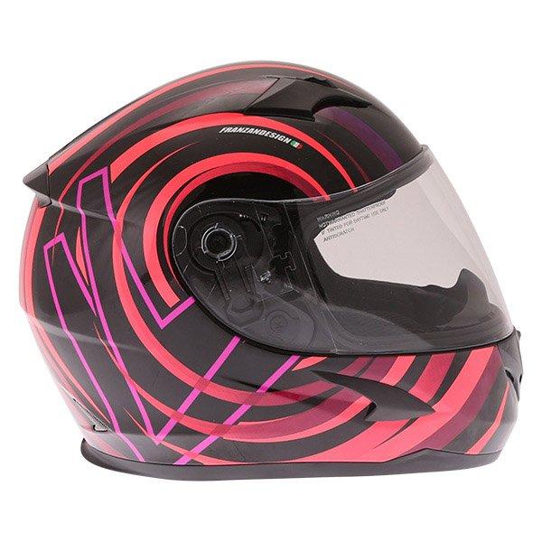 Frank Thomas FT36Y Comix Vortex Ladies Black Pink Full Face Motorcycle Helmet Right Side