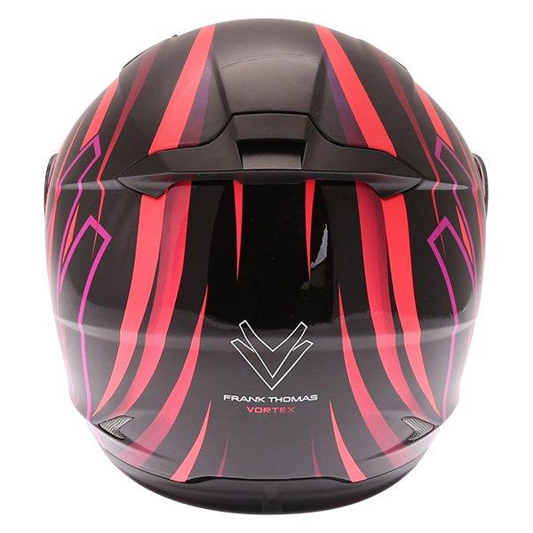 Frank Thomas FT36Y Comix Vortex Ladies Black Pink Full Face Motorcycle Helmet Back