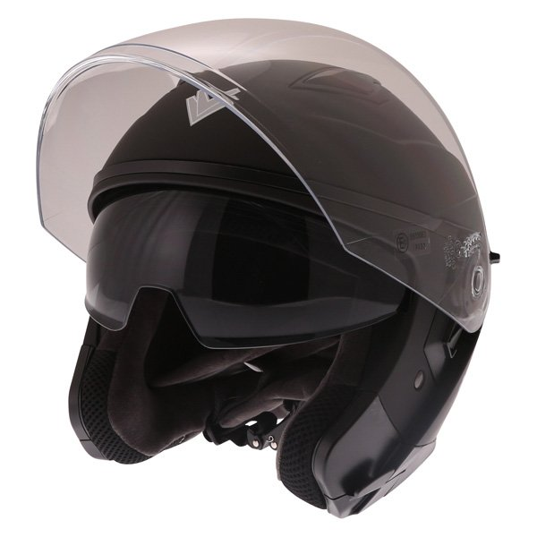 Frank Thomas FTDV31 Matt Black Open Face Motorcycle Helmet Open With Sun Visor