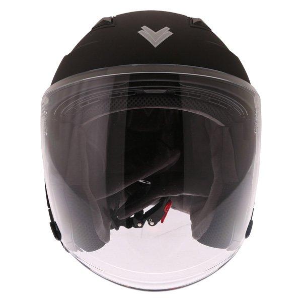 Frank Thomas FTDV31 Matt Black Open Face Motorcycle Helmet Front
