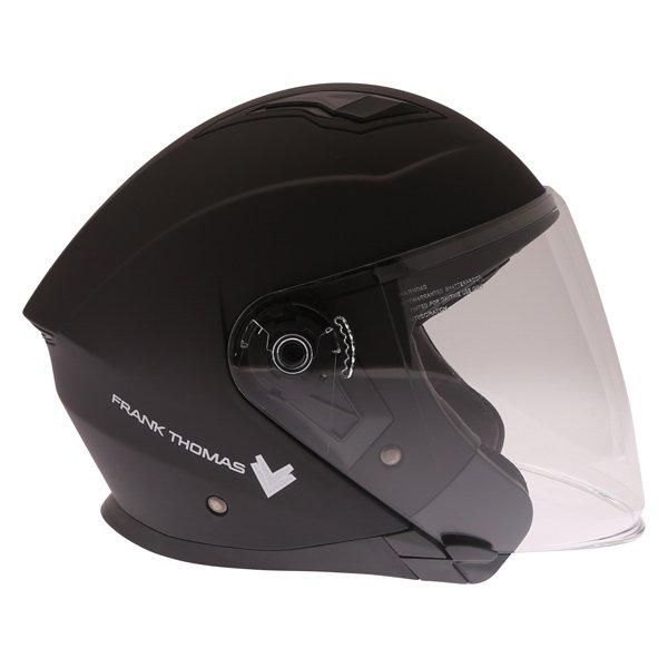 Frank Thomas FTDV31 Matt Black Open Face Motorcycle Helmet Right Side