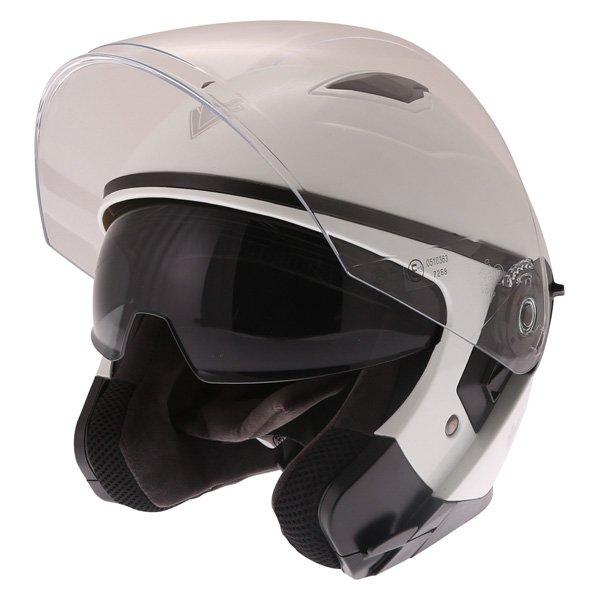 Frank Thomas FTDV31 White Open Face Motorcycle Helmet Open With Sun Visor