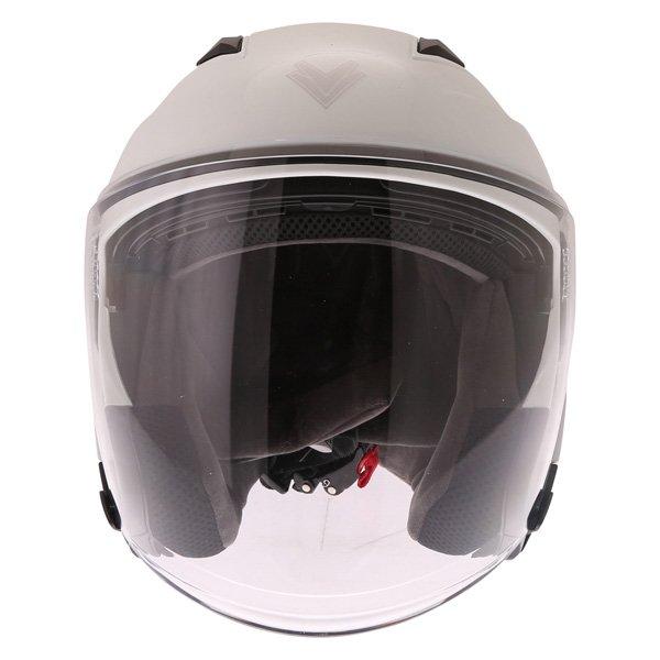Frank Thomas FTDV31 White Open Face Motorcycle Helmet Front