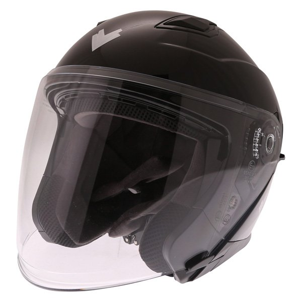 Frank Thomas FTDV31 Black Open Face Motorcycle Helmet Front Left