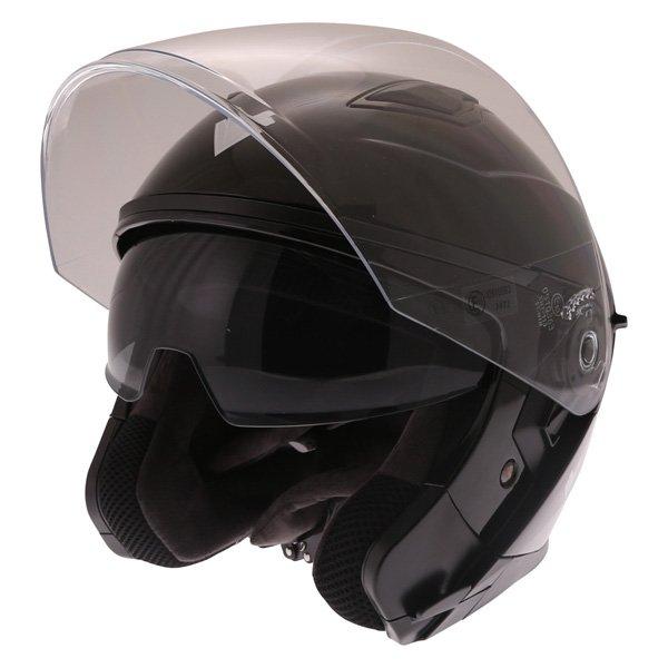 Frank Thomas FTDV31 Black Open Face Motorcycle Helmet Open With Sun Visor