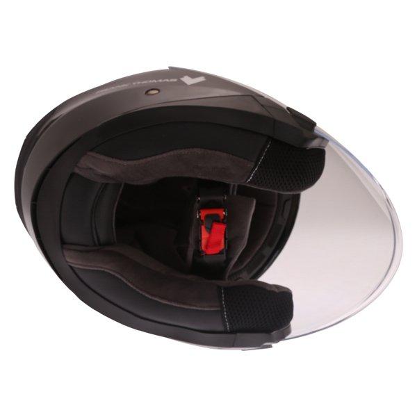 Frank Thomas FTDV31 Black Open Face Motorcycle Helmet Inside