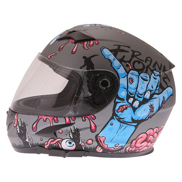 Frank Thomas FT36SV Zombie Grey Full Face Motorcycle Helmet Left Side