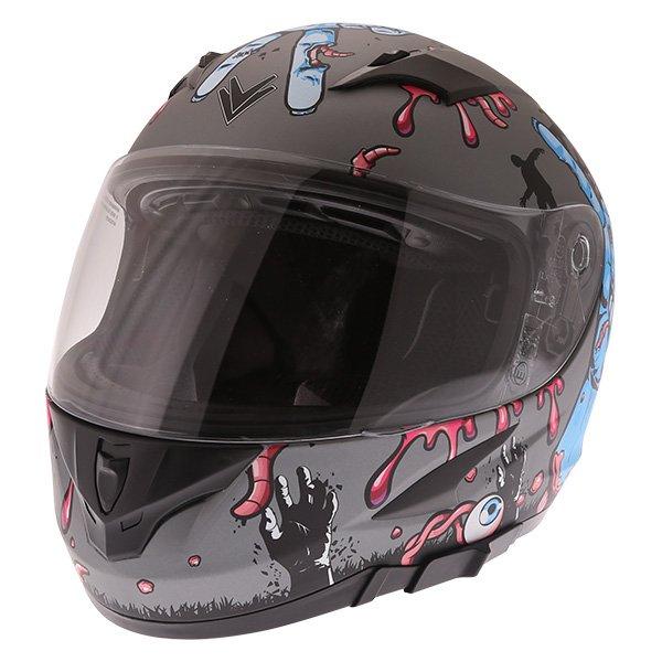 Frank Thomas FT36SV Zombie Grey Full Face Motorcycle Helmet Front Left